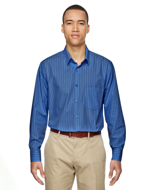Deep Blue 87044 North End Align Wrinkle-Resistant Cotton Blend Dobby Vertical Striped Shirt | Blankclothing.ca