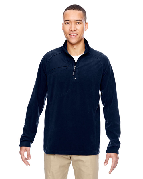 Navy 88217 North End Men's Excursion Trail Fabric-Block Fleece Half-Zip Sweater | Blankclothing.ca