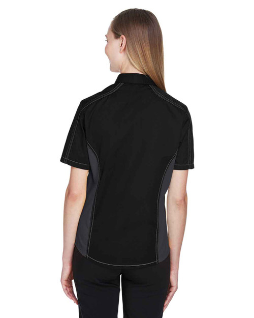 Black/Carbon - Back, 77042 North End Fuse Colourblock Twill Shirt | BlankClothing.ca
