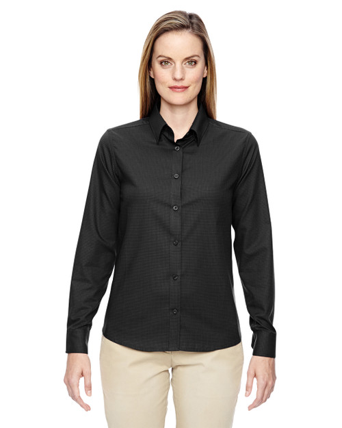 Black 77043 North End Paramount Wrinkle-Resistant Cotton Blend Twill Checkered Shirt | Blankclothing.ca