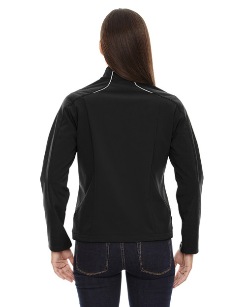 Black - back 78176 North End Terrain Colourblock Soft Shell Jacket with Embossed Print | Blankclothing.ca