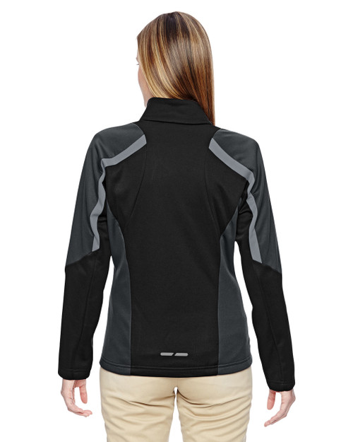 Black - Back, 78201 North End Ladies' Strike Colorblock Fleece Jacket | Blankclothing.ca