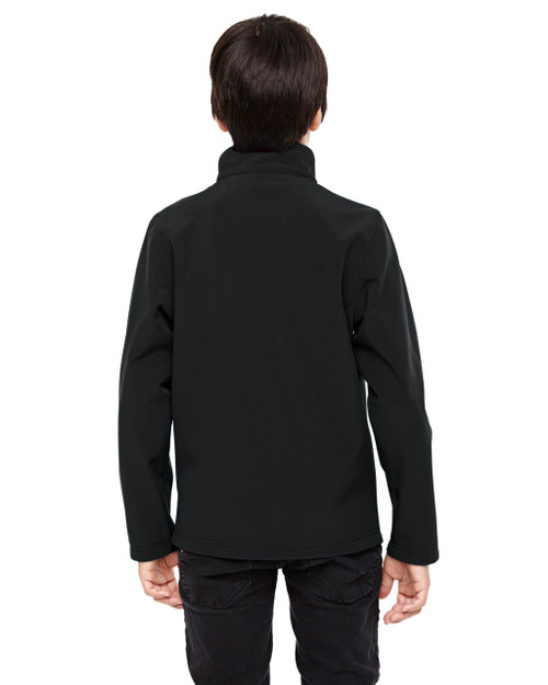 Black - Back, TT80Y Team 365 Youth Leader Soft Shell Jacket | BlankClothing.ca
