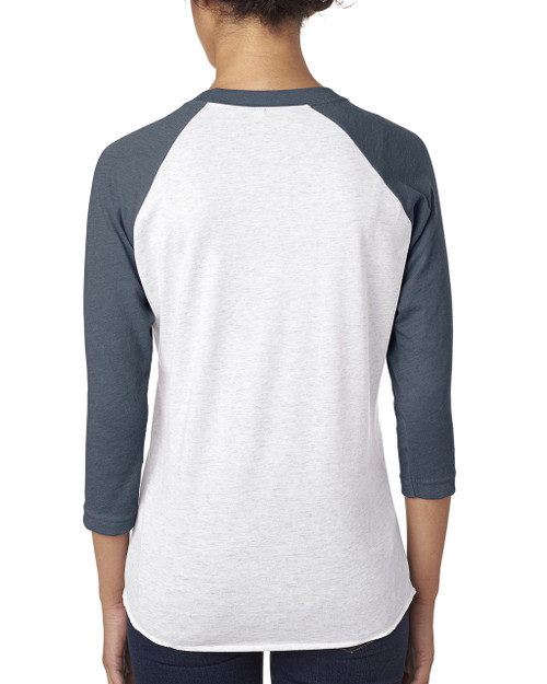 Indigo/Heather White, back 6051 Next Level Unisex Tri-Blend 3/4-Sleeve Raglan Tee | Blankclothing.ca