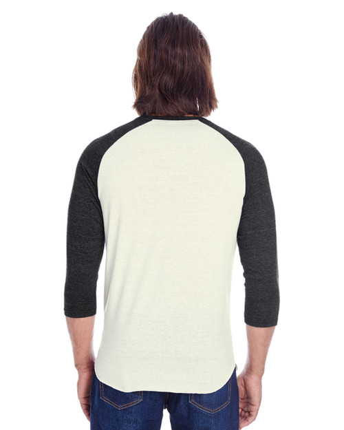 Cream/Black Triblend - Back, 302G Threadfast Unisex Triblend 3/4-Sleeve Raglan Shirt | Blankclothing.ca