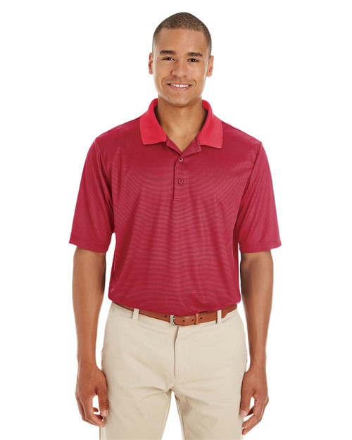 Classic Red / Carbon - CE102 Ash City - Core 365 Men's Express Microstripe Performance Piqué Polo Shirt | Blankclothing.ca