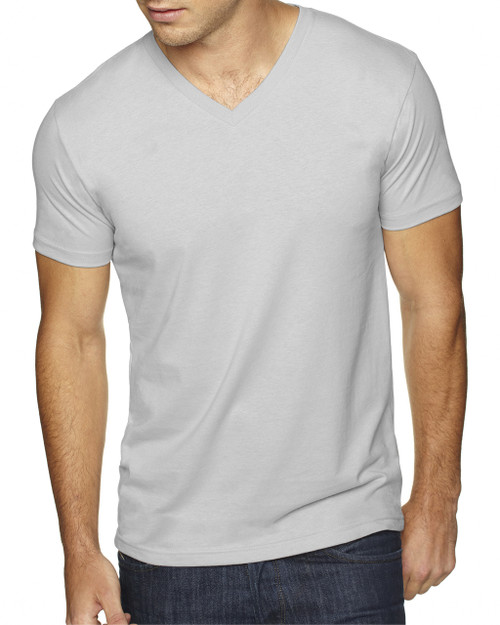 Light Grey - 6440 Next Level Men's Premium Fitted Sueded V-Neck Tee | Blankclothing.ca