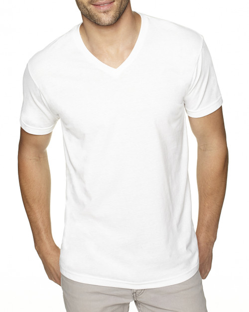 White - 6440 Next Level Men's Premium Fitted Sueded V-Neck Tee   Blankclothing.ca