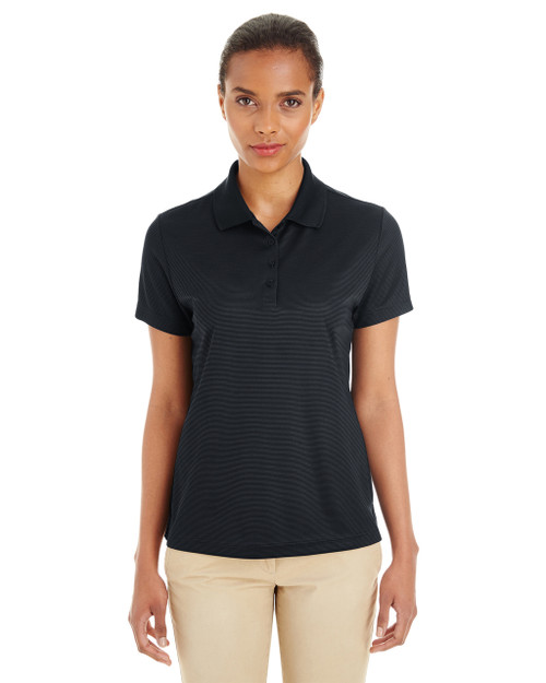 Black / Carbon - CE102W Ash City - Core 365 Ladies' Express Microstripe Performance Piqué Polo Shirt | Blankclothing.ca