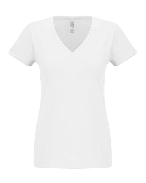 White - N6480 Next Level Ladies Sueded V-Neck Tee | Blankclothing.ca