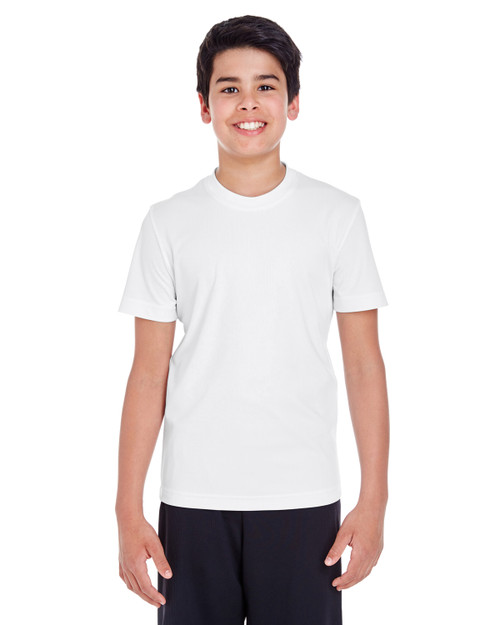 White - TT11Y Team 365 Youth Zone Performance Tee | BlankClothing.ca