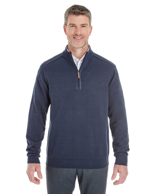 Navy / Graphite - DG478 Devon & Jones Men's Manchester Fully-Fashioned Half-Zip Sweater