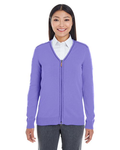 Grape / Navy - DG478W Devon & Jones Ladies' Manchester Fully-Fashioned Full-Zip Sweater