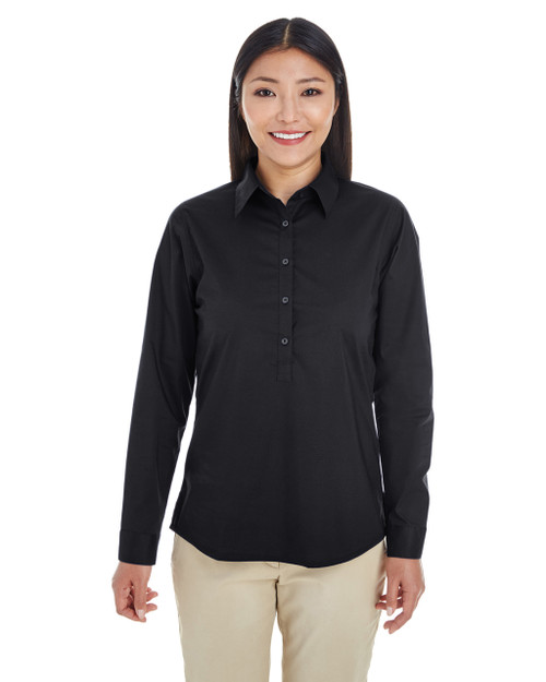 Black - DP610W Devon & Jones Ladies' Perfect Fit™ Half-Placket Tunic Top