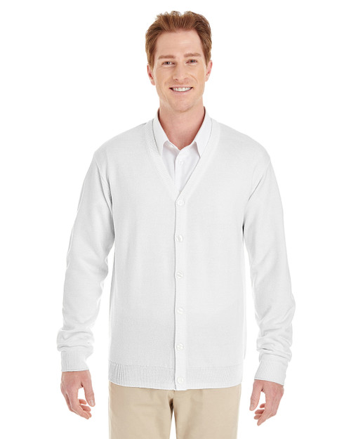 White - M425 Harriton Men's Pilbloc™ V-Neck Button Cardigan Sweater