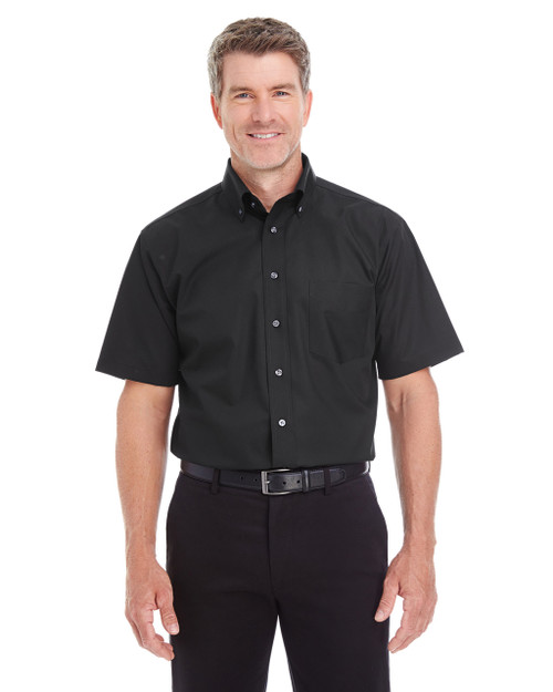 Black - D620S Devon & Jones Men's Crown Collection™ Solid Broadcloth Short Sleeve Shirt | Blankclothing.ca