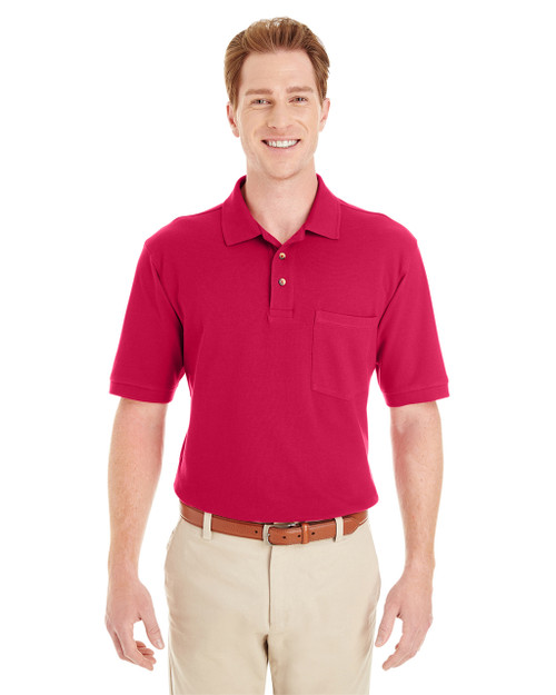 Red - M200P Harriton Adult 6 oz. Ringspun Cotton Piqué Short-Sleeve Pocket Polo Shirt