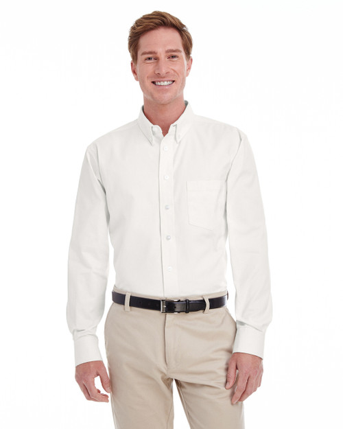 White - M581T Harriton Men's Tall Foundation 100% Cotton Long Sleeve Twill Shirt with Teflon™