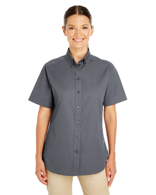 Dark Charcoal - M582W Harriton Ladies' Foundation 100% Cotton Short Sleeve Twill Shirt Teflon™