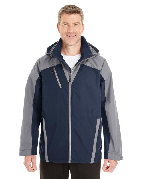 Navy/Graphite/Graphite - FRONT - NE700 Ash City - North End Men's Embark Colorblock Interactive Shell Jacket with Reflective Printed Panels | Blankclothing.ca