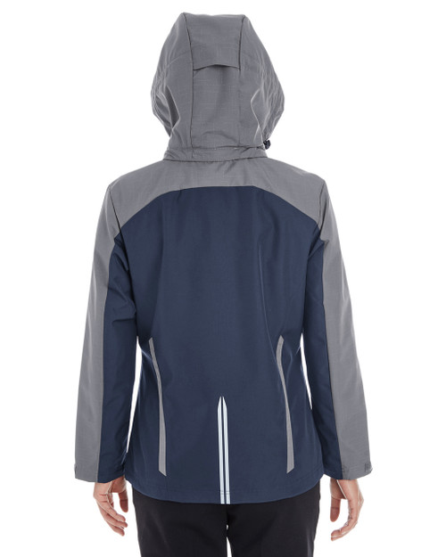 Navy/Graphite/Graphite - BACK - NE700W Ash City - North End Ladies' Embark Colorblock Interactive Shell Jacket with Reflective Printed Panels   Blankclothing.ca