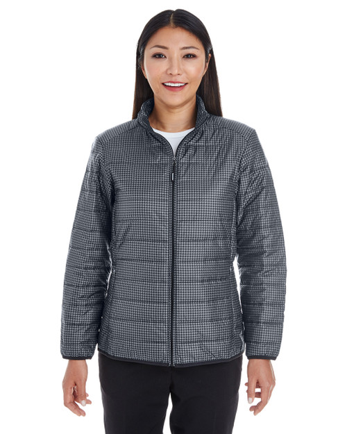 Houndstooth - FRONT - NE701W Ash City - North End Ladies' Portal Interactive Printed Packable Puffer Jacket | Blankclothing.ca