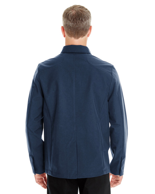Navy - Back- NE705 Ash City - North End Men's Edge Soft Shell Jacket with Fold-Down Collar   Blankclothing.ca