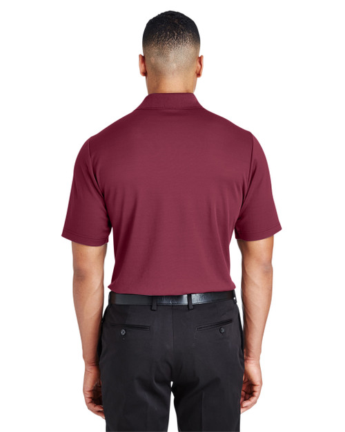 Burgundy, Back - DG20 Devon & Jones Men's CrownLux Performance™ Plaited Polo Shirt | Blankclothing.ca