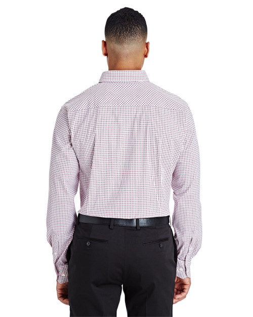 Burgundy/White - DG540 Devon & Jones Men's CrownLux Performance™ Micro Windowpane Shirt