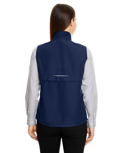 Classic Navy - Back  CE703W Ash City - Core 365 Ladies' Techno Lite Unlined Vest | Blankclothing.ca