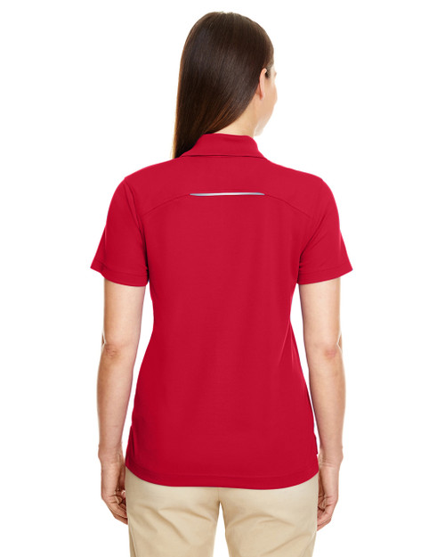 Classic Red, Back - 78181R Ash City - Core 365 Ladies' Radiant Performance Piqué Polo Shirt with Reflective Piping | Blankclothing.ca