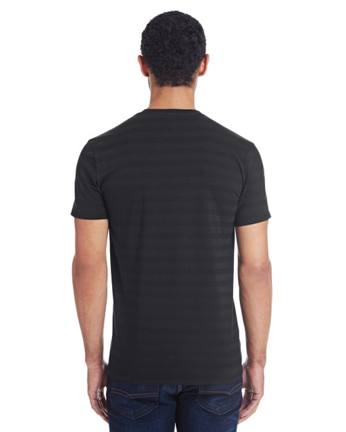 Black Invisible Stripes - Back, 152A Threadfast Men's Invisible Stripe Short-Sleeve T-Shirt  | Blankclothing.ca