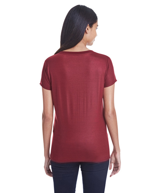 Liquid Cardinal - Back,  240RV Threadfast Ladies' Liquid Jersey V-Neck T-Shirt | Blankclothing.ca