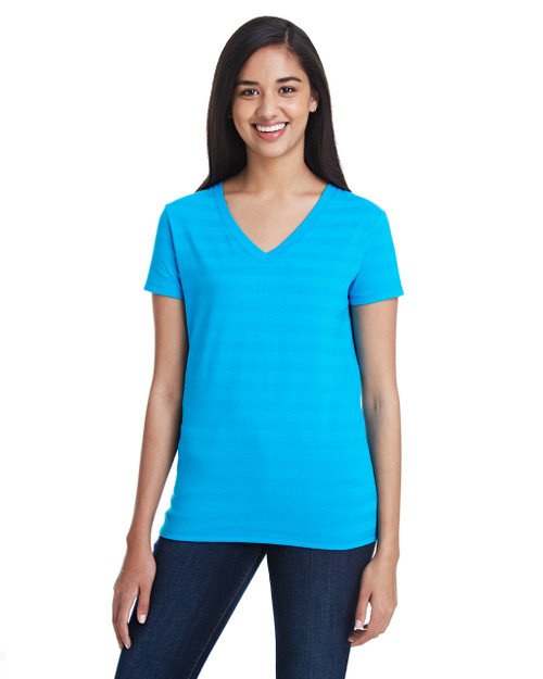 Turquoise Invisible Stripes - 252RV Threadfast Ladies' Invisible Stripe V-Neck T-Shirt | Blankclothing.ca