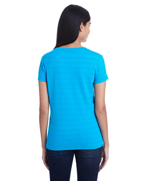 Turquoise Invisible Stripes, Back - 252RV Threadfast Ladies' Invisible Stripe V-Neck T-Shirt | Blankclothing.ca