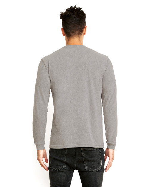 Dark Heather Grey - Back,  6411 Next Level Unisex Sueded Long-Sleeve Crew Shirt | Blankclothing.ca