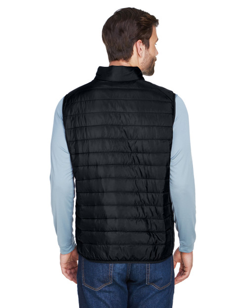 Black, Back - CE702 Ash City - Core 365 Men's Prevail Packable Puffer Vest | BlankClothing.ca