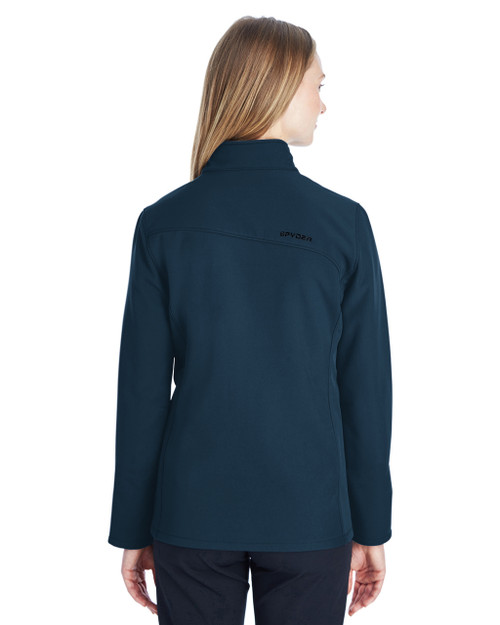 Frontier/Black, Back - 187337 Spyder Ladies' Transport Softshell Jacket | BlankClothing.ca