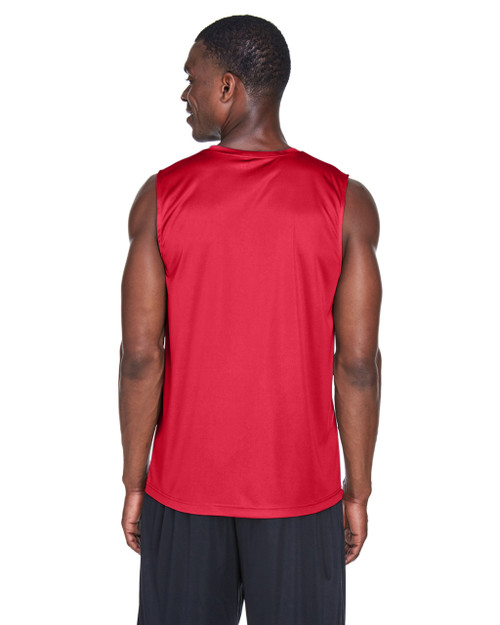 Sport Red, Back - TT11M Team 365 Men's Performance Muscle T-Shirt | BlankClothing.ca