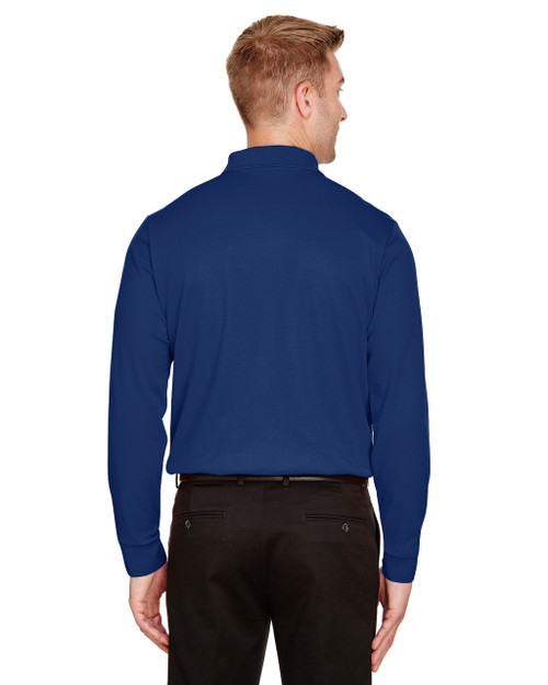 True Royal, Back - DG20LT Devon & Jones Men's Tall CrownLux Performance™ Plaited Long-Sleeve Polo Shirt | BlankClothing.ca