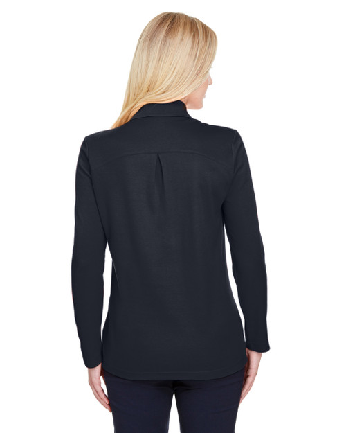 Black, Back - DG20LW Devon & Jones Ladies' CrownLux Performance™ Plaited Long-Sleeve Polo Shirt | BlankClothing.ca