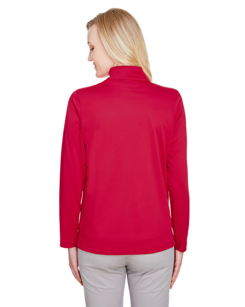 Red, Back - M748W Harriton Ladies' Advantage Snag Protection Plus IL Quarter-Zip Athletic Shirt | BlankClothing.ca