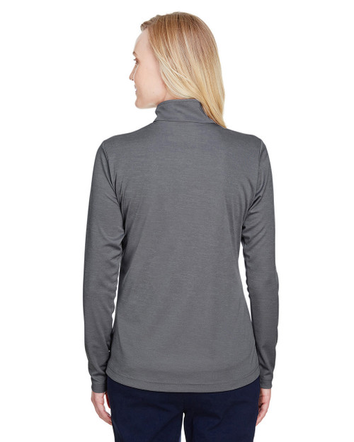 Dark Grey Heather, Back - TT31HW Team 365 Ladies' Zone Sonic Heather Performance Quarter-Zip Active Shirt | BlankClothing.ca