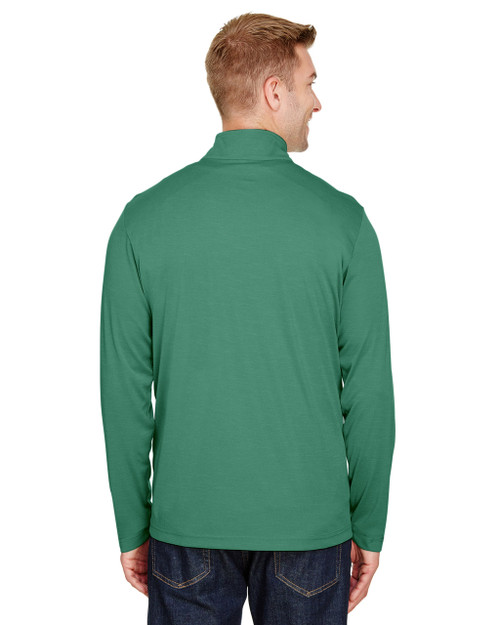 Sport Forest Heather, Back - TT31H Team 365 Men's Zone Sonic Heather Performance Quarter-Zip Active Shirt | BlankClothing.ca