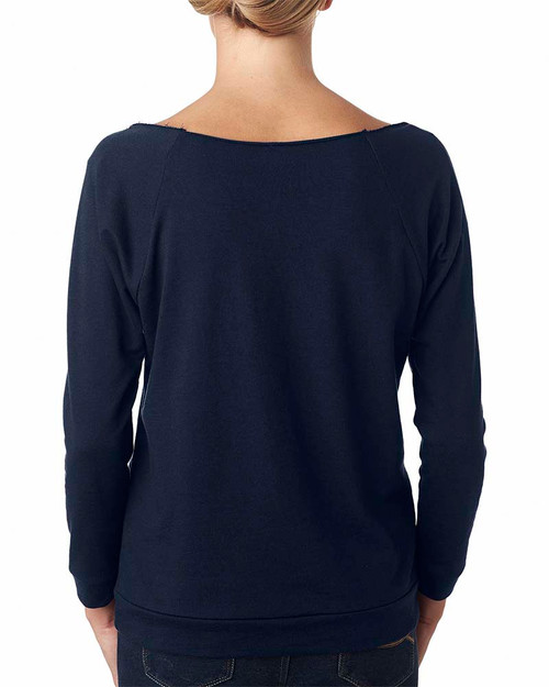 Midnight Navy, Back - 6951 Next Level Ladies' French Terry Raw-Edge 3/4-Sleeve Raglan Shirt  | BlankClothing.ca