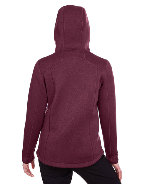 Burgundy Heather/Olympic Blue - back, NE707W Ash City - North End Ladies' Paramount Bonded Knit Jacket | Blankclothing.ca
