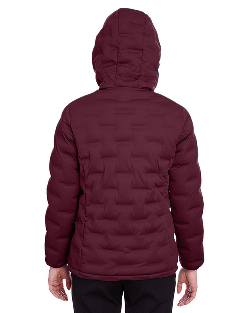 Burgundy/Olympic Blue - back, NE708W Ash City - North End Ladies' Loft Puffer Jacket | Blankclothing.ca