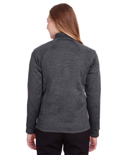 Black Heather/Orange Soda - back, NE712W Ash City - North End Ladies Flux 2.0 Full-Zip Jacket | Blankclothing.ca