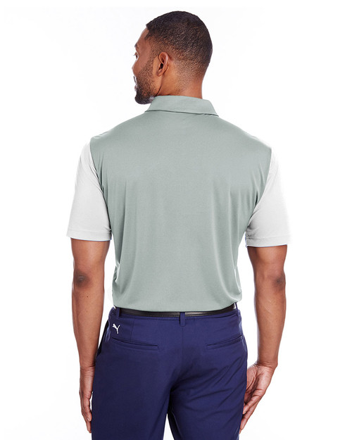 Bright White/Qurry - back, 596805 Puma Golf Men's Bonded Colorblock Polo | Blankclothing.ca