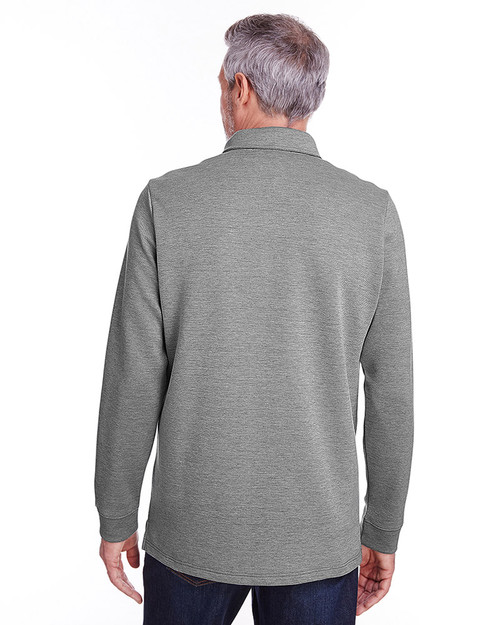 Dark Charcoal Heather - back, M709 Harriton Adult StainBloc™ Pique Fleece Pullover Jacket | Blankclothing.ca